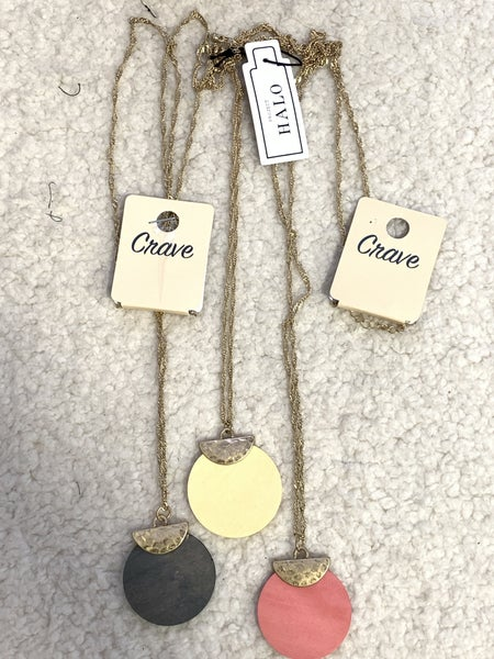 In The Bag Long Gold Necklace With Half Moon And Wooden Disc Pendant In Multiple Colors