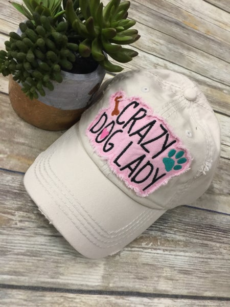 Crazy Dog Lady Distressed Hat In Khaki