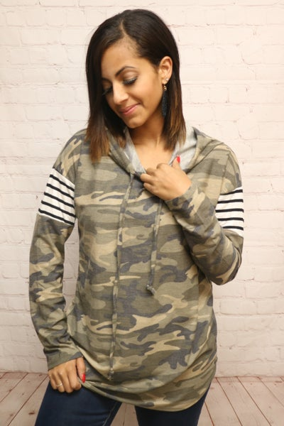 Looking for You Camo Long Sleeve Hoodie with Stripe Accent on Sleeve - Sizes 4-20