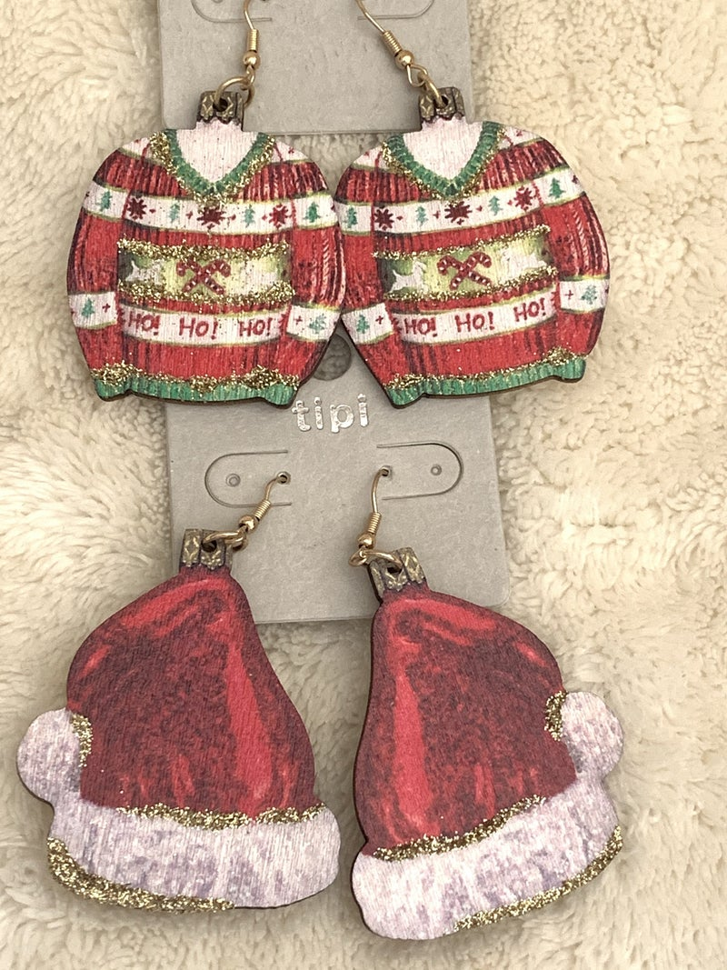 Winter Cozy Wooden  Earring With Glitter Detail In Multiple Designs