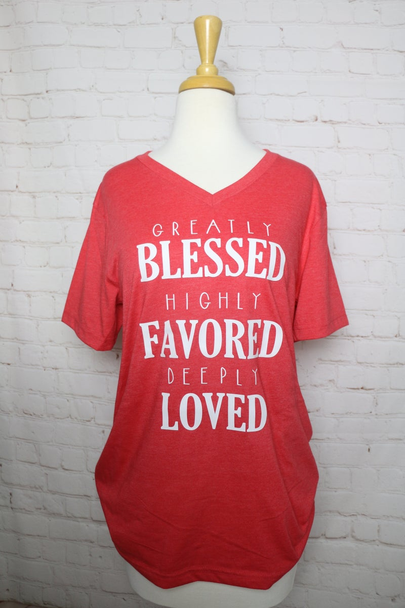 Greatly Blessed Red V-Neck Graphic Tee ***PREORDER*** - Sizes 4-18
