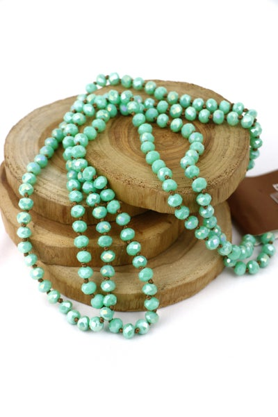 Seafoam With Brown Thread Point Of Perfection Beaded Necklace