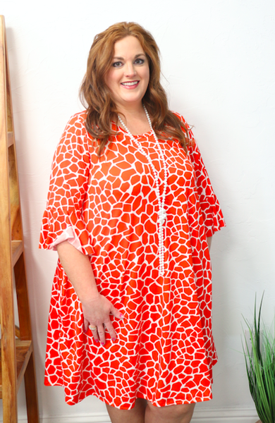 Safari Queen Giraffe Print Bell Sleeve Dress in Multiple Colors - Sizes 12-20