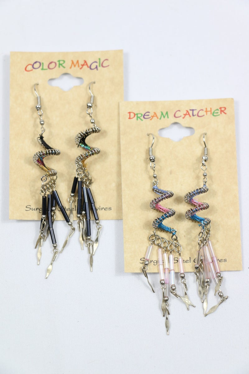 Amazing Metal Spiral Earring With Beaded Tassels In Multiple Colors
