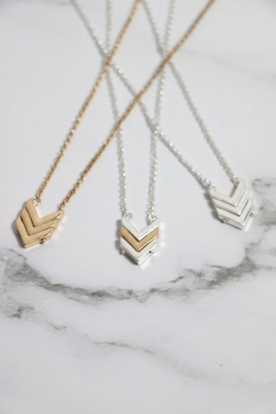 Triple Threat Short Necklace With 3 Arrow Design On Multiple Colors
