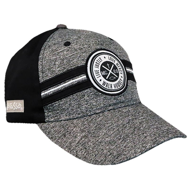 Live Justly Men's Black and Gray Cap -One Size Fits Most
