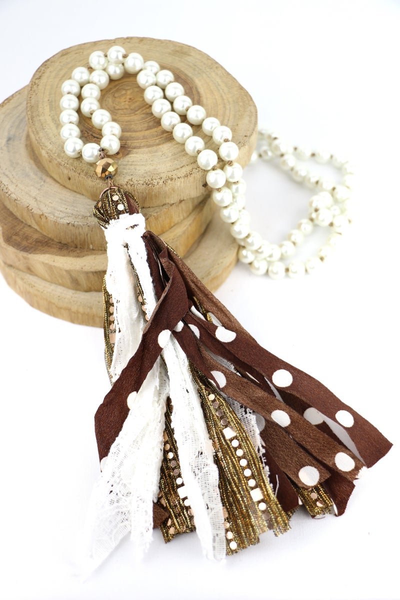 Perfection Long Pearl Necklace With Multi-Fabric Tassel In Multiple Colors