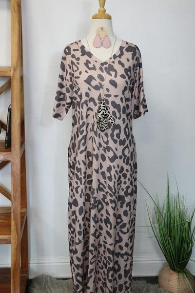 Call Me Up Leopard Short Sleeve Maxi Dress with Scoop Hem - Sizes 4-12