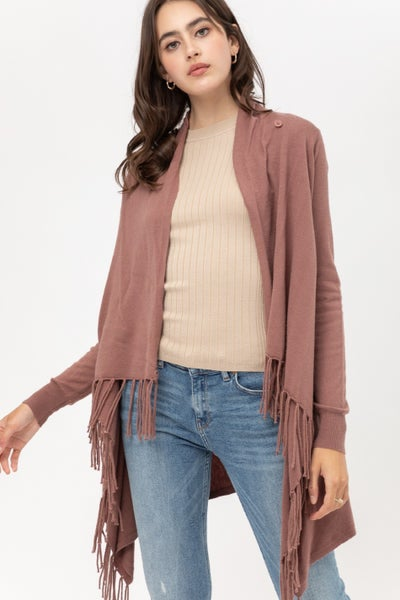 Feelin' Fine Fringed Open Front Draped Poncho Wrap Cardigan In Multiple Colors- Sizes 4-10