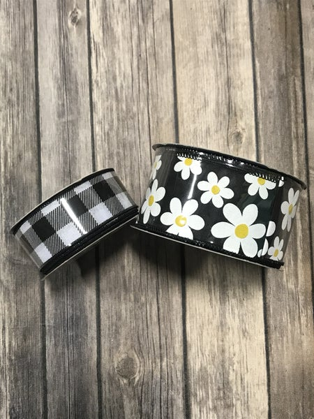 Feeling Blessed Daisy Wide  Ribbon with Buffalo Check Accent Ribbon - Multiple Colors