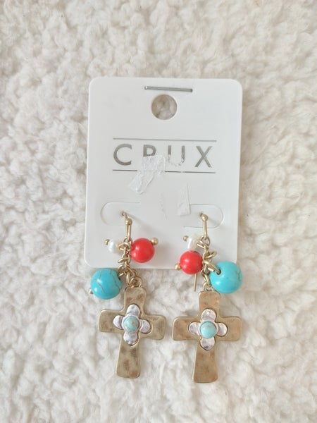 Faithful Gold Cross Earring With Coral And Turquoise Charms