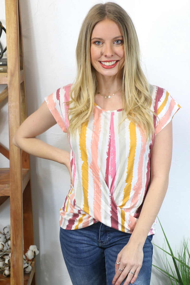 Move Me Short Sleeve Top with Twisted Front Knot in Multiple Colors - Sizes 4-20