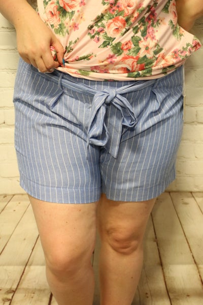 Don't Run Away Striped Paper bag Shorts In Multiple Colors- Sizes 12-20