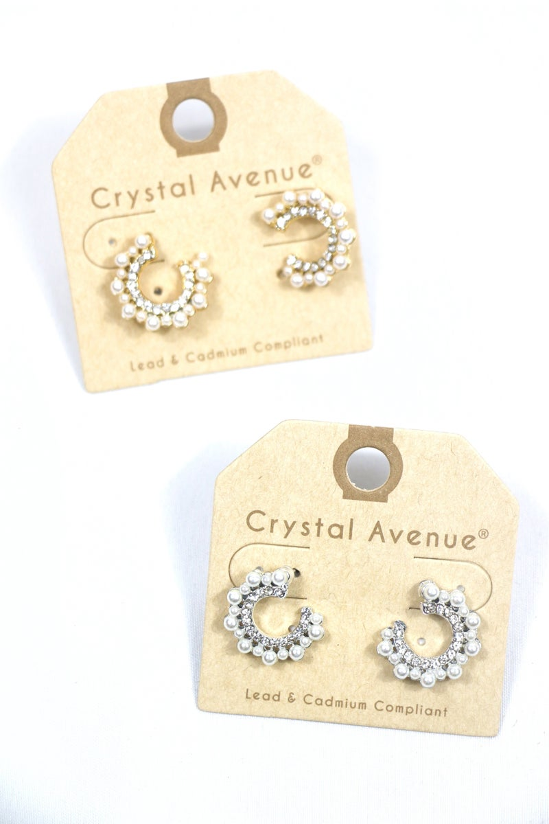 Pretty As A Picture Pearl And Crystal C Shaped Stud Earring In Multiple Colors