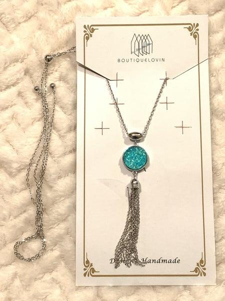 C'est La Vie Long Silver Adjustable Necklace With Druzy Pendant And Chain Tassel