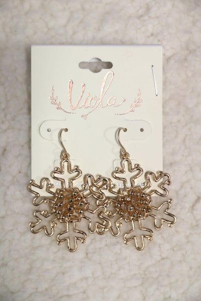 Golden Snowflake Earring With Crystal Center