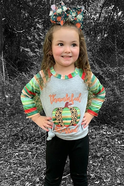 Thankful & Blessed Leopard and Serape Pumpkin Top - Sizes 6M - 8Y