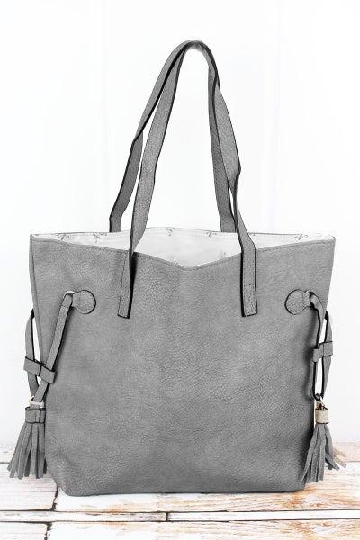 Ready For Adventure Grey Tasseled Handbag