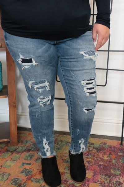 The Cameren High Rise Distressed Skinny Jean with Blue & White Patches Sizes 3-20