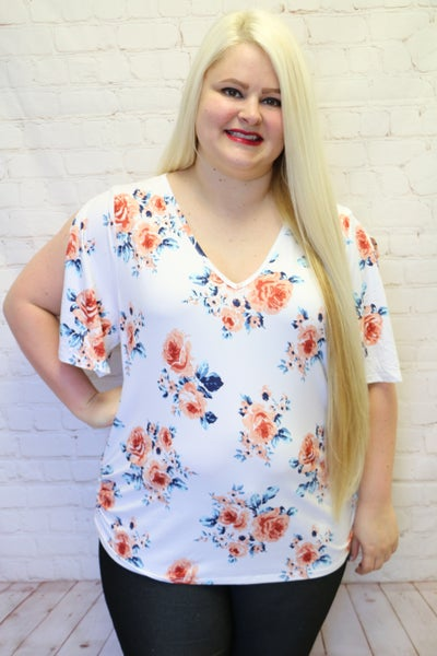 Walk with Me White Floral Short Sleeve Top with Side Shirring - Sizes 12-20
