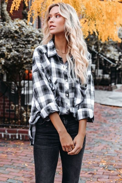 Finally Found Black and White Plaid Button Down Top - Sizes 4-12