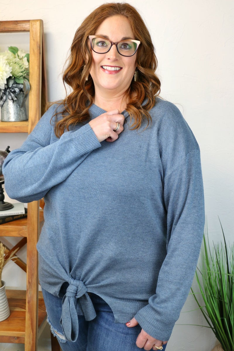 Ready for the Weekend Loose Sweater with Knotted Detail in Multiple Colors - Sizes 12-20