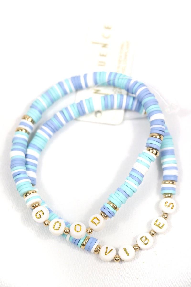 Good Vibes 2 Strand Rubber Disc Stretch Bracelet