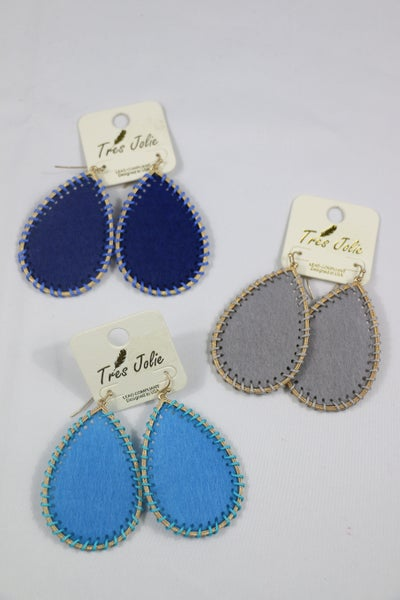 All In A Day Felt Teardrop Earring With Thread Wrapped Border In Multiple Colors