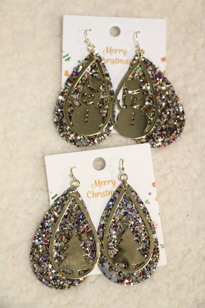 All That Glitters Double Layer Glitter and Gold Cutout Teardrop Earrings  In Multiple Designs