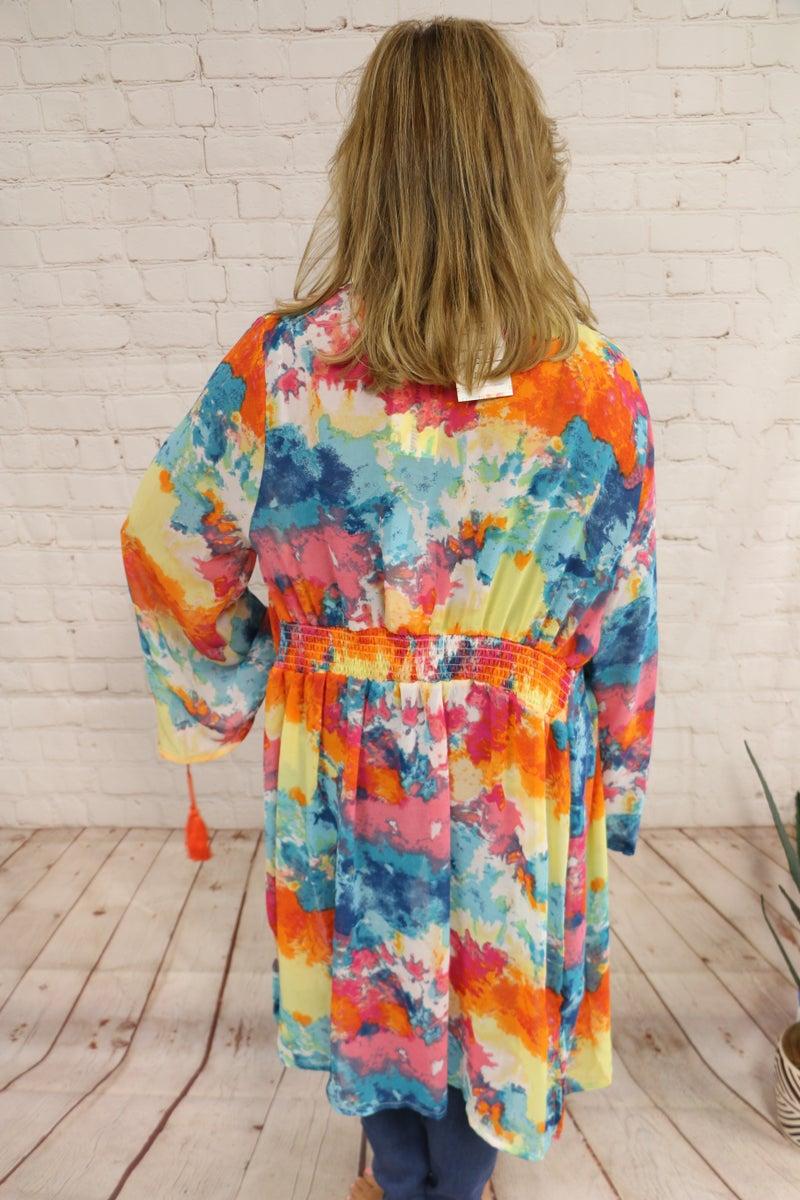 What A Joy Colorful Kimono - Sizes 4-20
