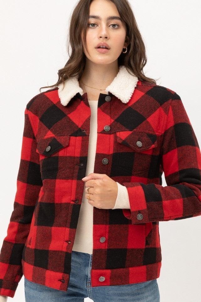 All My Love Buffalo Plaid Sherpa Lined Jacket- Sizes 4-12