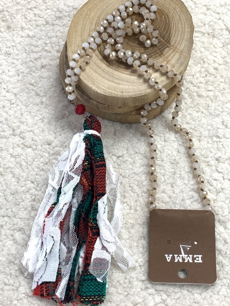 Out Tonight Beige Crystal Beaded Necklace With Red And Green Tassel