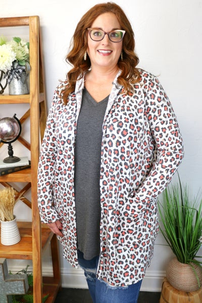 Out in the Jungle White Leopard Hooded Cardigan - Sizes 12-20