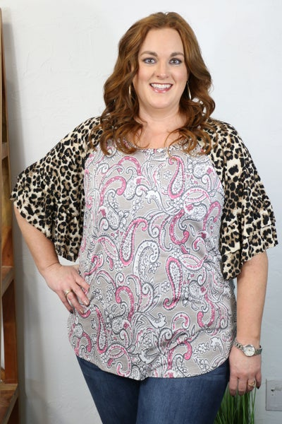 Stay with Me Gray Paisley Top with Leopard Accent Sleeve - Sizes 12-20