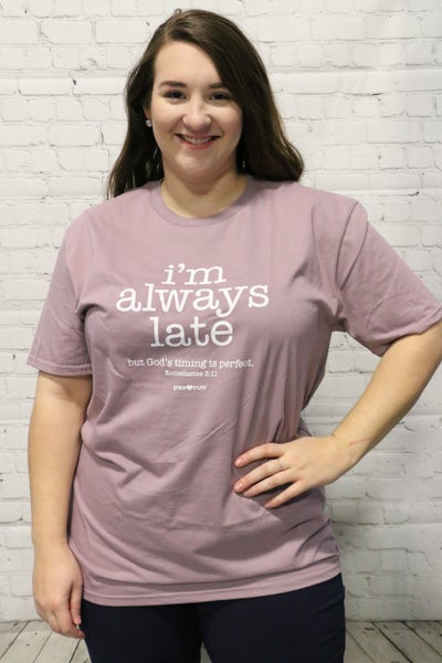 ***PRE-ORDER*** I'm Always Late Graphic Tee In Lilac Sizes 4-18