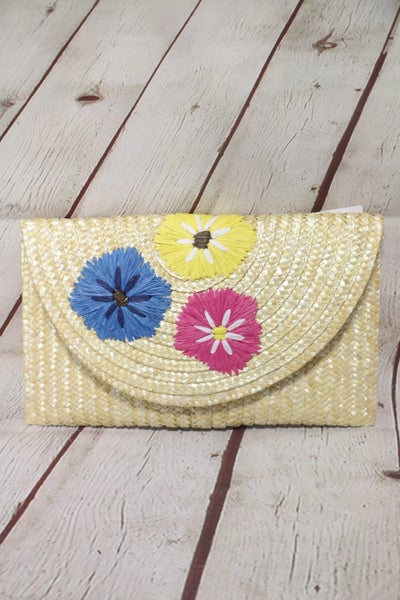 Vintage Handmade Knit Bamboo Rattan Straw Floral Clutch Handbag