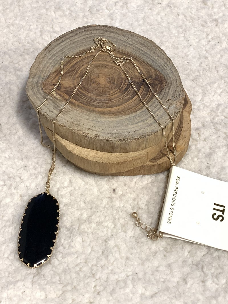 So Classy Long Necklace With Black Oblong Gem