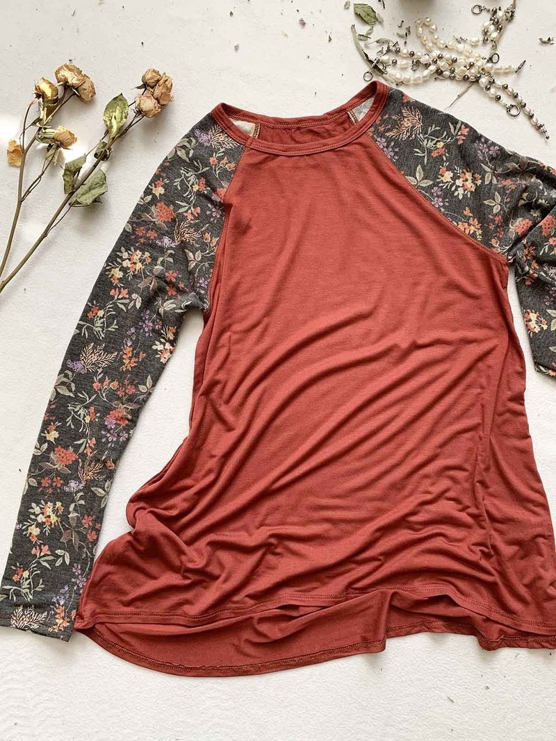 Be Your Fool Rust Raglan with Floral Accent Sleeve - Sizes 4-10