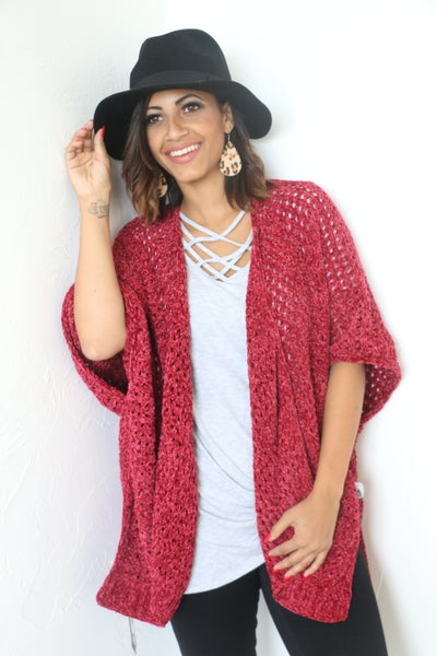 Can Hardly Wait Chenille Honeycomb Kimono in Multiple Colors - One Size Fits Most