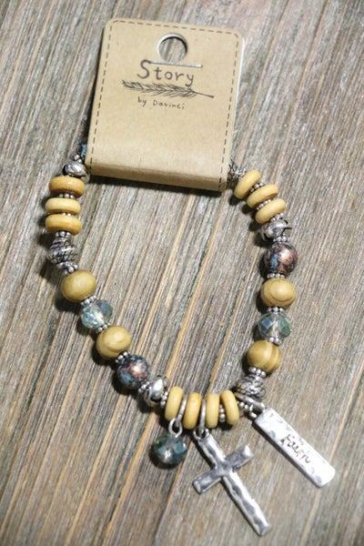 Serenity Wood Metal And Crystal Beaded Charm Bracelet With Silver Cross Charm