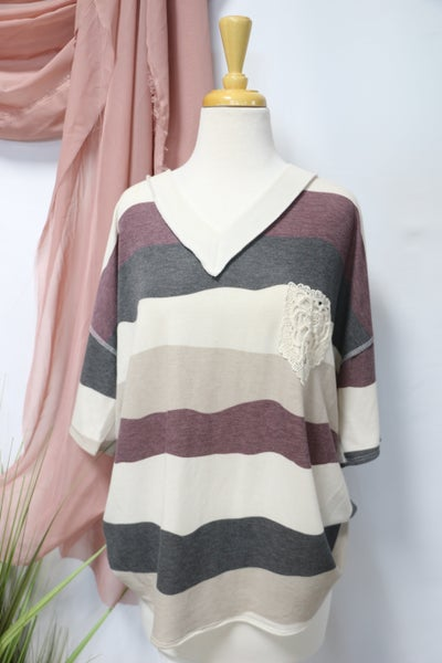 Forgotten Love Oatmeal, Plum and Charcoal Striped Top with Lace Accent Pocket - Sizes 12-20