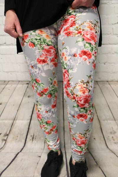 The Cassidy Lee Rose Leggings in Gray ~ One Size 2-20