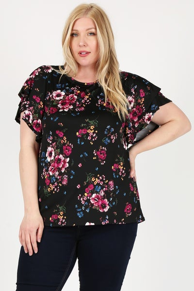Always with Me Floral Flutter Sleeve Top in Multiple Colors - Sizes 12-20