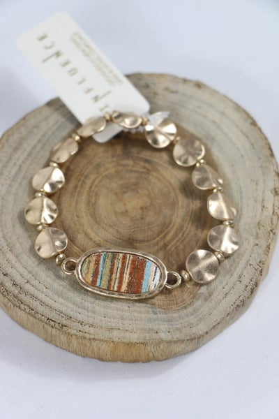 On The Way Gold Beaded Bracelet With Metallic Stripe Oval Pendant In Multiple Colors