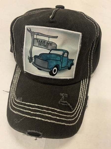 Take Me Home Distresssed Ball Cap In Faded Black