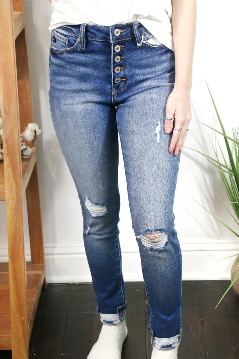 The Skyler KanCan Button Fly Medium Wash High Rise Distressed Skinny Jean - Sizes 7-15