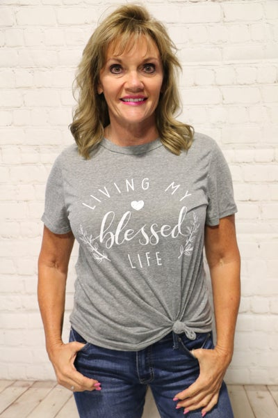Living My Blessed Life Graphic Tee In Gray- Sizes 4-10***PRE-ORDER***