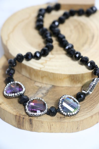 A Thing Of Beauty Short Black Beaded Necklace With Iridescent Circle Beads