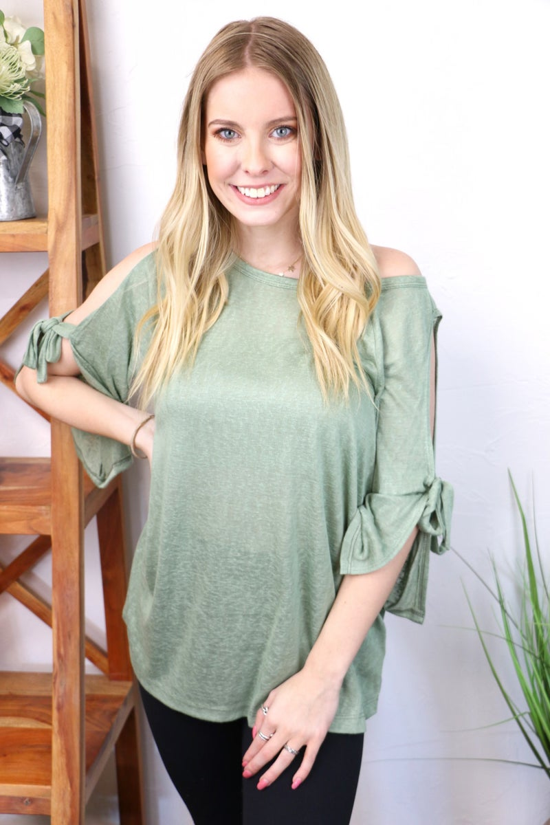 Always There for You Open Tie Sleeve Blouse in Multiple Colors - Sizes 4-10