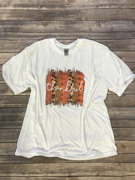 Thankful Orange and Leopard Brush Stroke Graphic Tee - Sizes 12-20